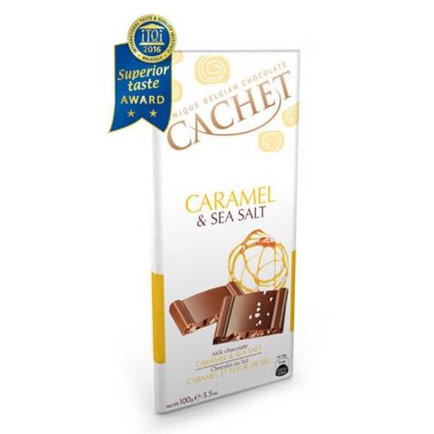 """CHOCOLATE BELGA DE CARAMELO Y SAL. """" CACHET """""""