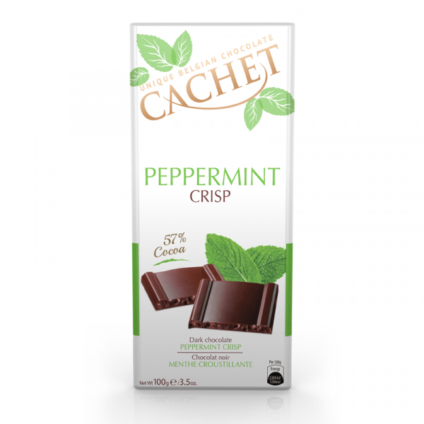 "CHOCOLATE NEGRO BELGA PEPPERMINT. "" CACHET """